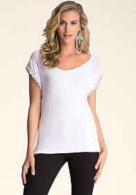 bebe Lace Up Chain Sleeve Top