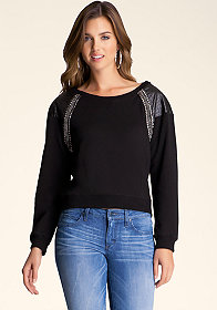 bebe Studded Shoulder Pullover
