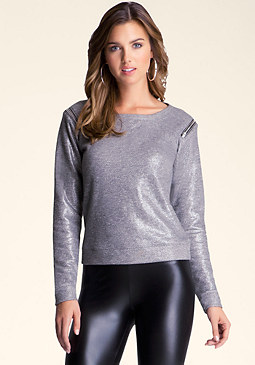 bebe Zip Shoulder Terry Pullover