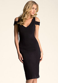 bebe Off Shoulder Midi Dress