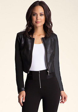 bebe Slashed Faux Leather Jacket