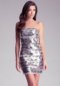 bebe Sequin Zigzag Dress