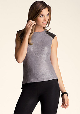 bebe Moto Shoulder Muscle Tee