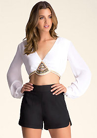 bebe Embellished Crop Shirt