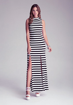 bebe Petite Side Slit Maxi Dress