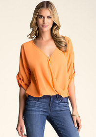 Twist Front Zipper Top at bebe