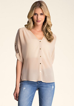 bebe Roll Sleeve Button Down Top