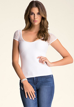bebe Top With Mesh Detail