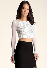 bebe Printed Mesh Crop Top