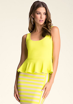 Basketweave Peplum Tank at bebe