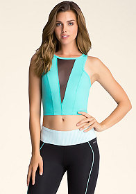 bebe V-Cut Scuba Crop Top