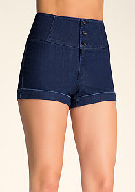 bebe Stacked Waist Lace Shorts