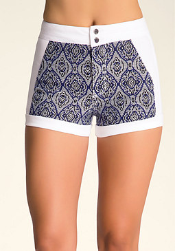 bebe Jacquard Pieced Shorts