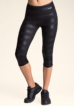 bebe Metallic Stripe Capri Pants