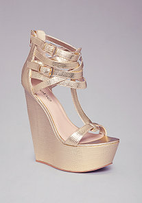 BLAIRRE MULTI-STRAP WEDGES at bebe