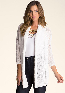 bebe Tape Yarn Drape Cardigan