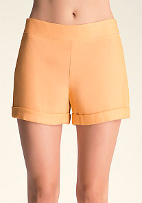 Cuff Hem High Waist Shorts at bebe