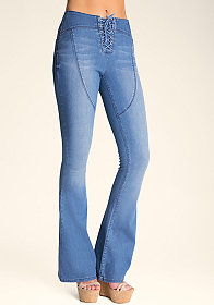 Lace-Up Mid Rise Jeans at bebe
