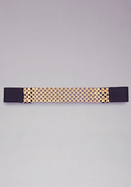 bebe Linked Squares Stretch Belt