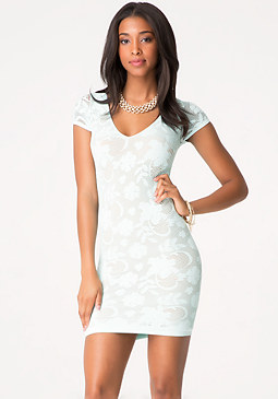 bebe Crochet Double Layer Dress