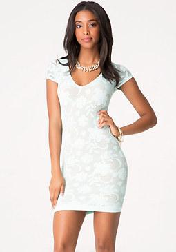 bebe Crochet Double Layer Dress