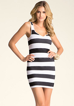 bebe Plunge Neck Stripe Dress