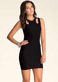 bebe Cutout Shoulder Shine Dress