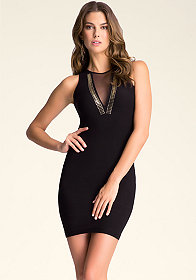 bebe Deep V-Neck Mesh Dress