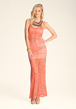 bebe Jewel Necklace Maxi Dress