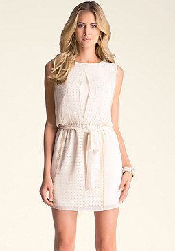 bebe Stud Keyhole Pullover Dress