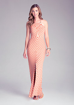bebe Halter Stripe Maxi Dress