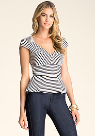 bebe Stripe Peplum Top