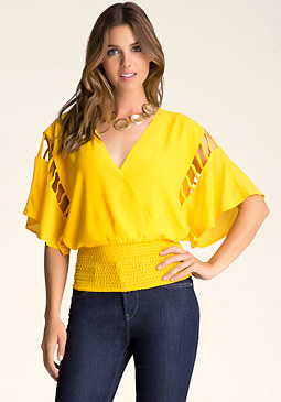 bebe Smocked Surplice Top