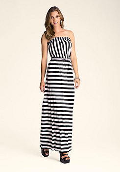 bebe Strapless Stripe Dress