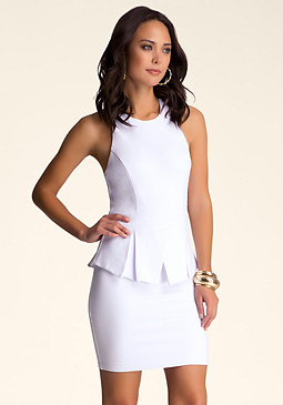 bebe Peplum Open Back Dress