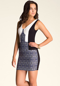 bebe Rita Jacquard V-Neck Dress