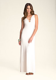 bebe Strappy Deep V Maxi Dress