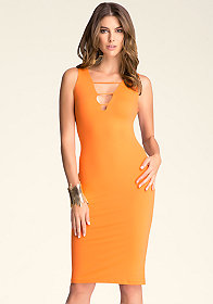 bebe Strappy Deep V Midi Dress
