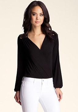 bebe Lace Back Drape Top