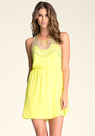 bebe Embellished Woven Dress