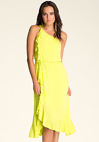 bebe One Shoulder Ruffle Dress