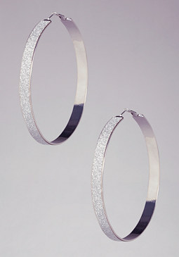 Glitter Hoop Earrings at bebe