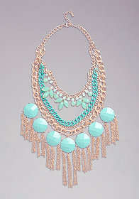 bebe Bauble & Fringe Necklace