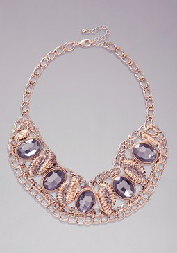 GLITZY CHAIN BIB NECKLACE at bebe