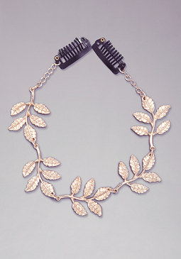 bebe Metal Leaf Draped Hair Clip