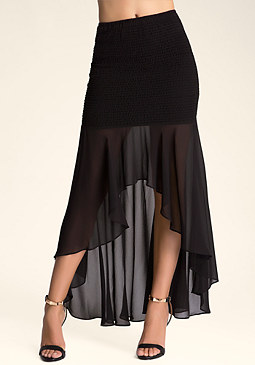 SMOCKED BODY MAXI SKIRT at bebe