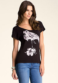 bebe Cuffed V-Neck Graphic Tee