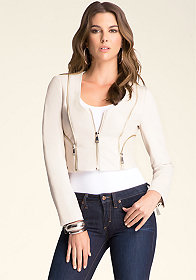 bebe Zip Zip Leather Jacket