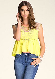 bebe Capped Sleeve Chain Top