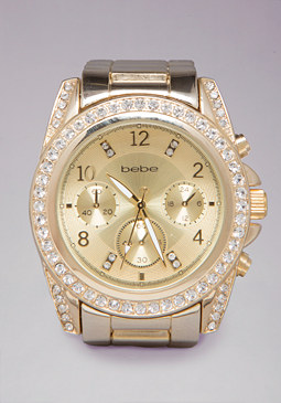 bebe Rhinestone Boyfriend Watch